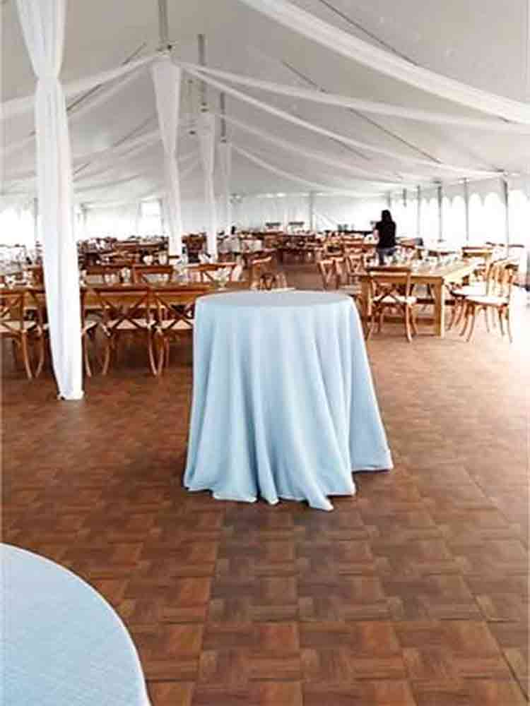 The dark wood parquet provides a beautiful look to an event