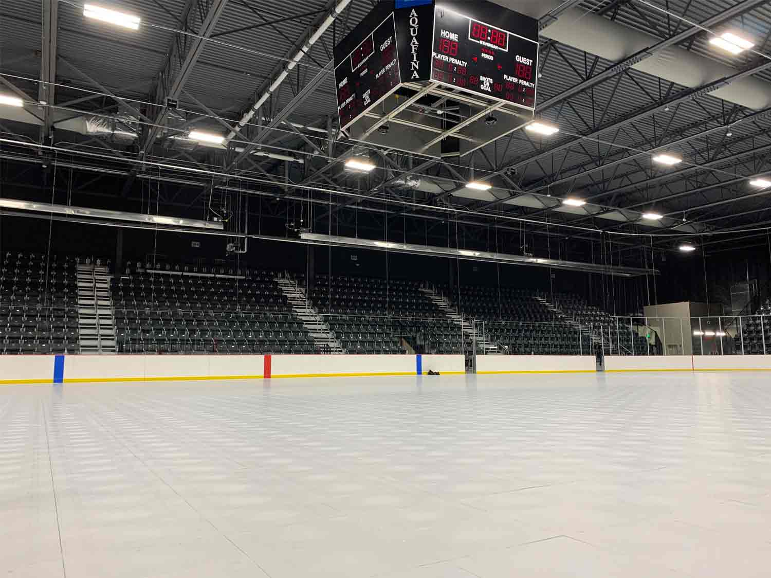 Protect the ice rink when installing a stage by using EverBlock Flooring