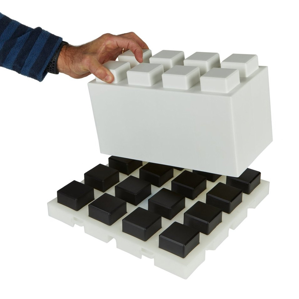Lugs will not be seen when an EverBlock is placed on top of the floor tile