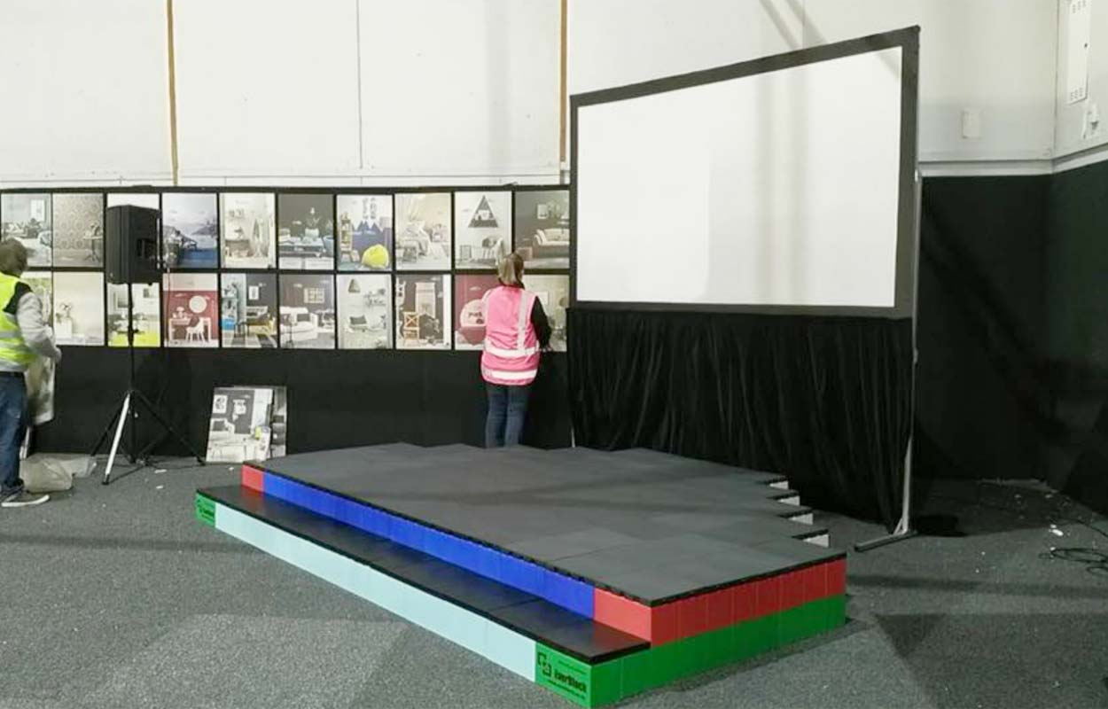 Create stages for events using raised floors and risers