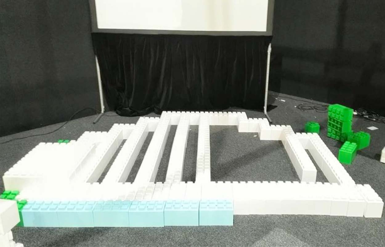 The building of a stage or riser