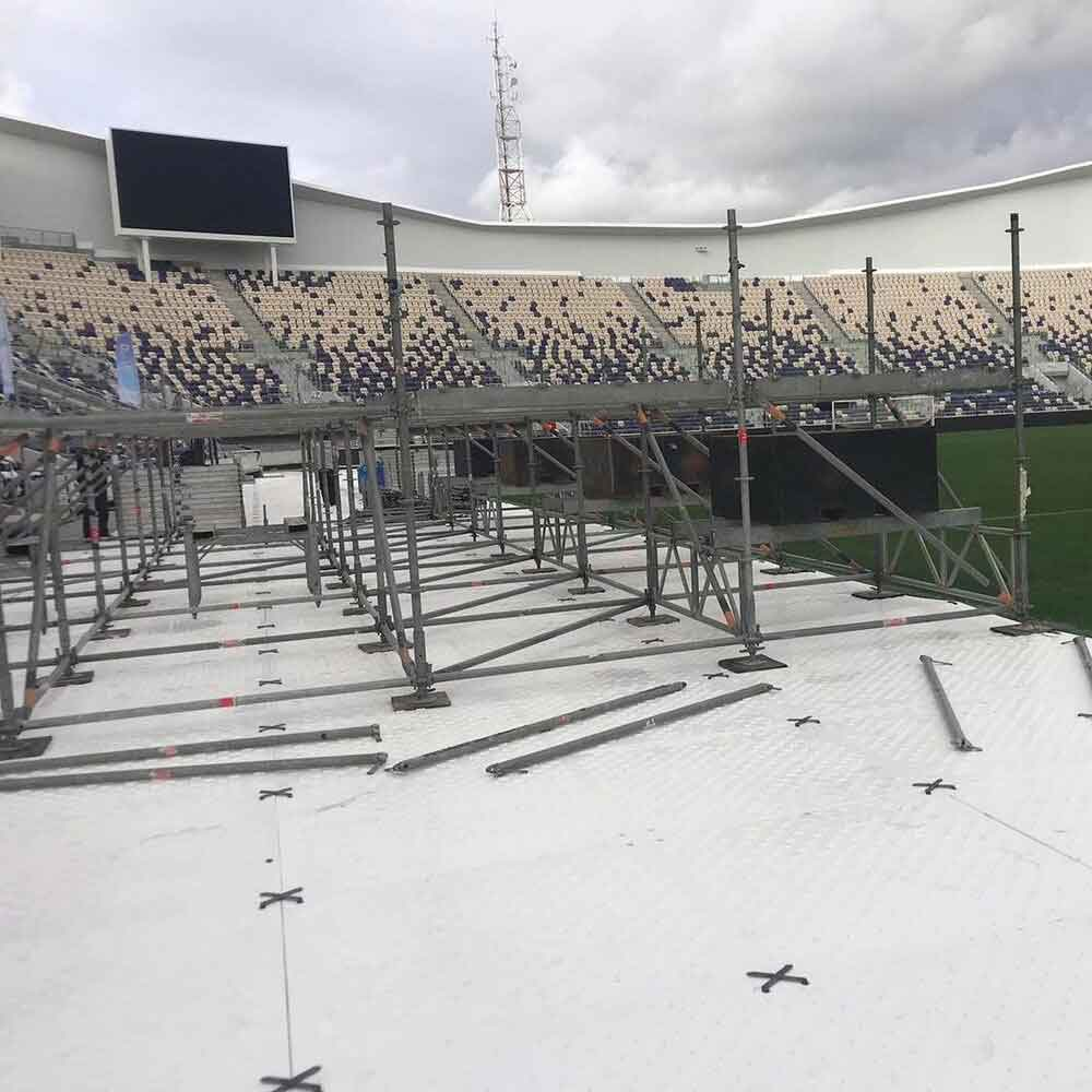Use EverBlock Flooring to support bleachers and stands on the Stadium Turf