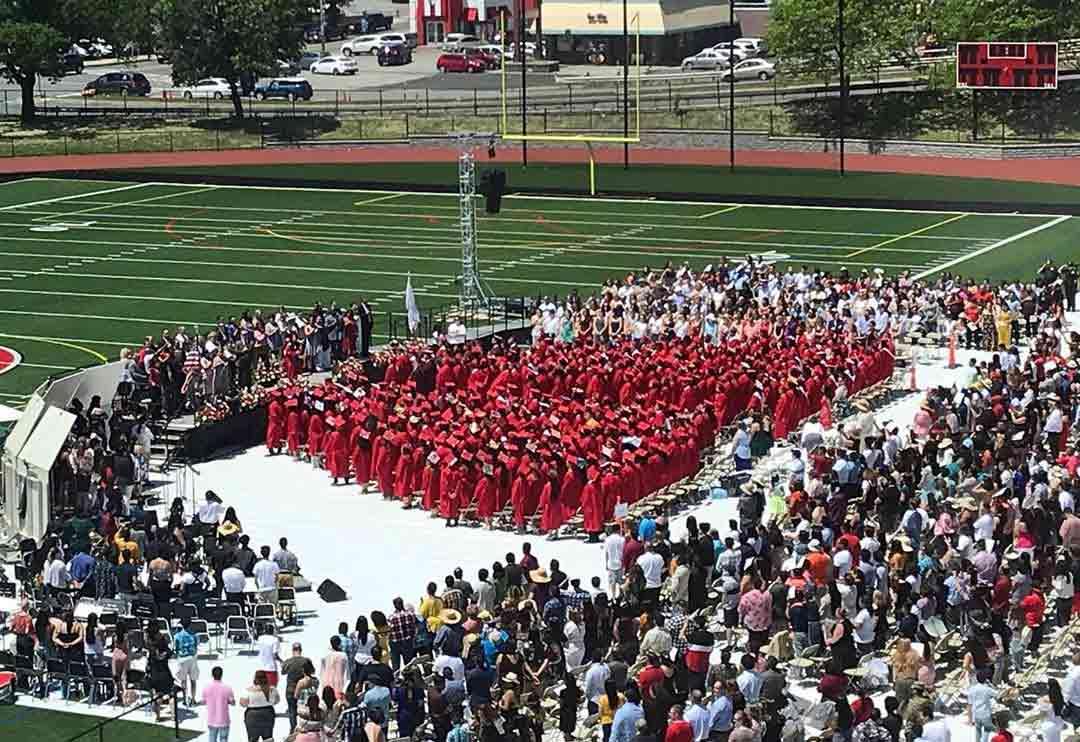 Graduation event on stadium turf made possible with EverBlock Flooring