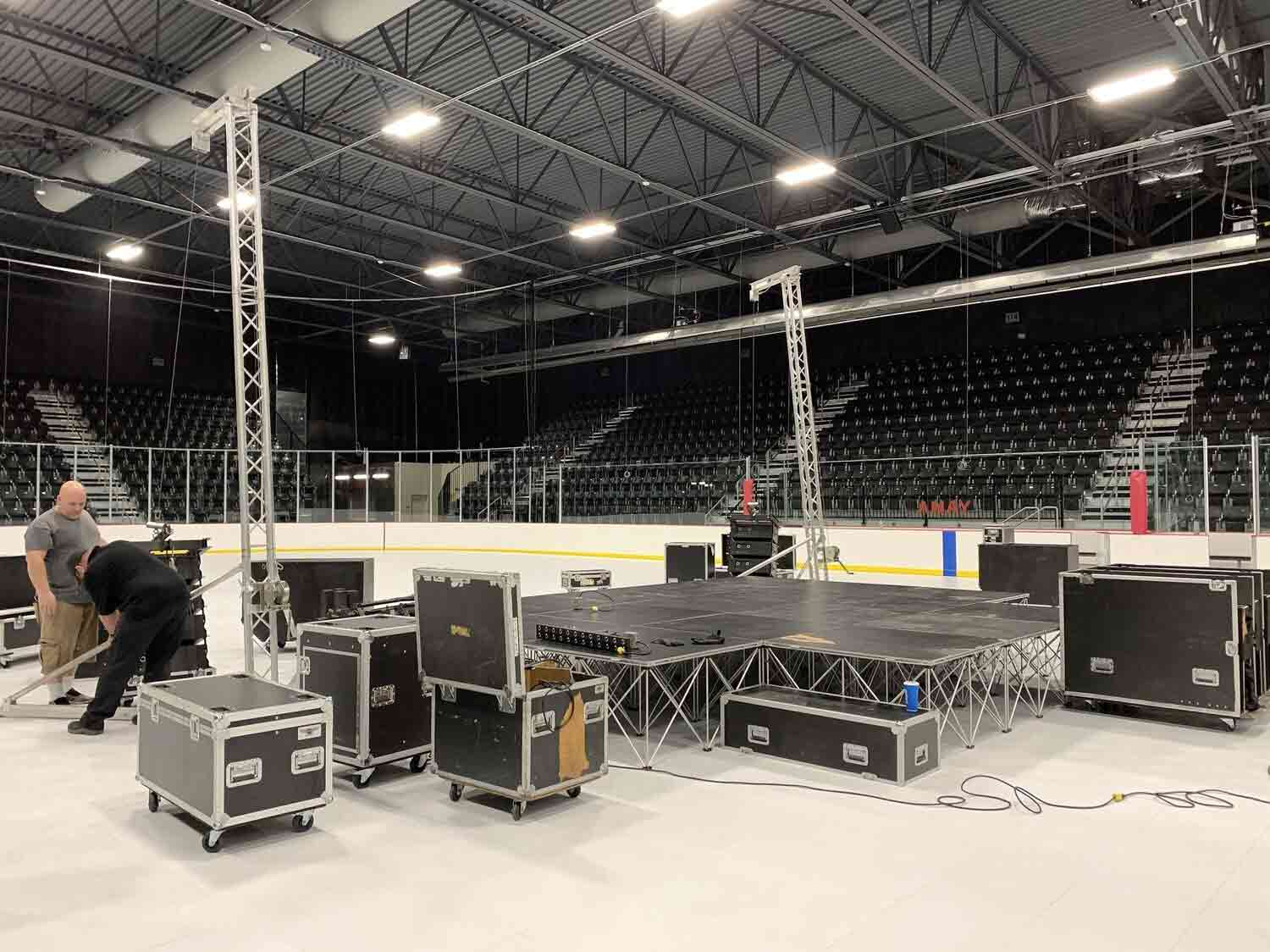 Convert an ice rink into a stage with EverBlock Flooring