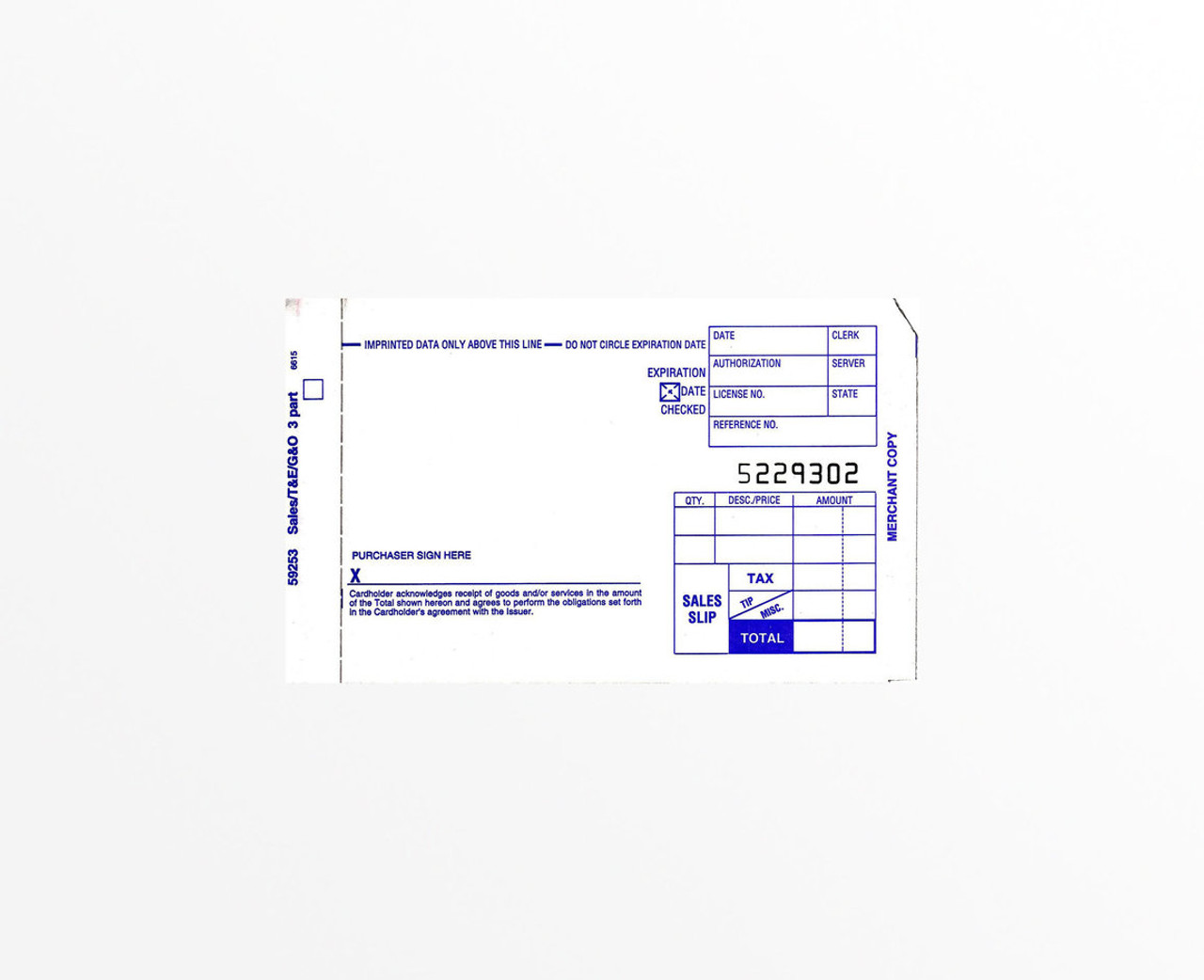 Credit Card Imprinter Slips