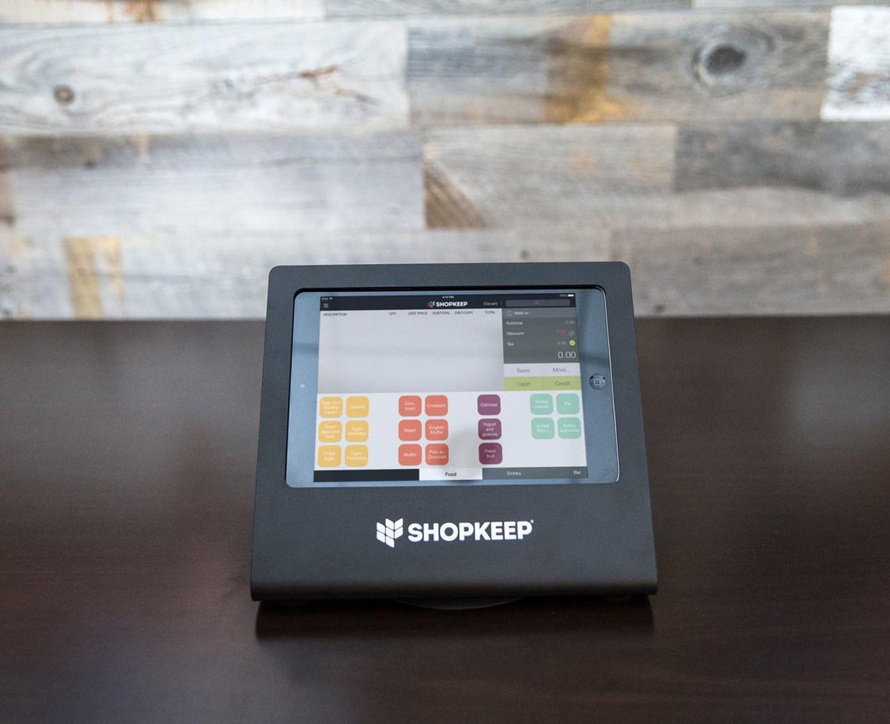 Black iPad Mini Enclosure with ShopKeep transaction screen