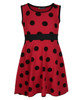 Girls All Polka Dot Dress in Cerise, Peach, Red and Coral
