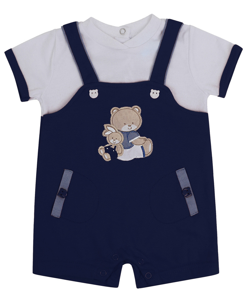 ff87453a22e89 Baby Boys Dungarees Romper 0-12 Months In Three Colours