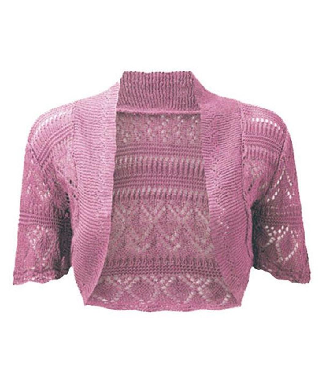 ea76178ba6 Crochet Knitted Bolero Shrug In Pink