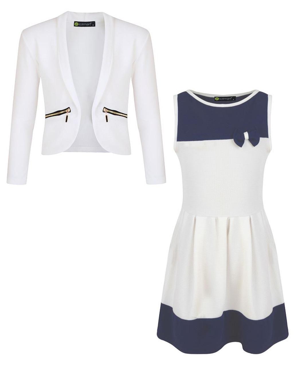 Girls Bow Dress Navy