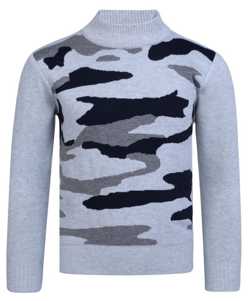 Boys Camo Knitted Pullover Jumper in Navy, Grey and Khaki