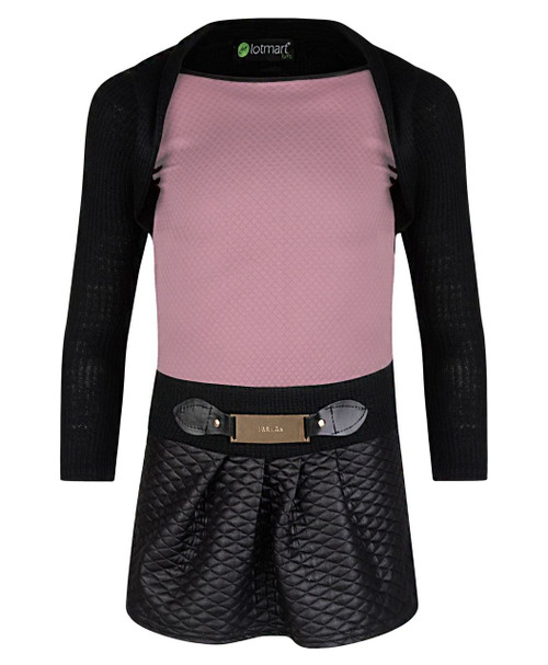 Girls Dress with Knitted Top in White, Red and Dusty Pink