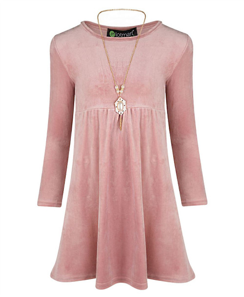 Girls Silk Velvet Dress in Navy, Dusty Pink and Burgundy