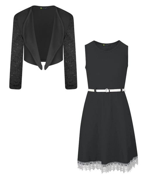 Girls Belted Dress and Bolero Bundle in Black