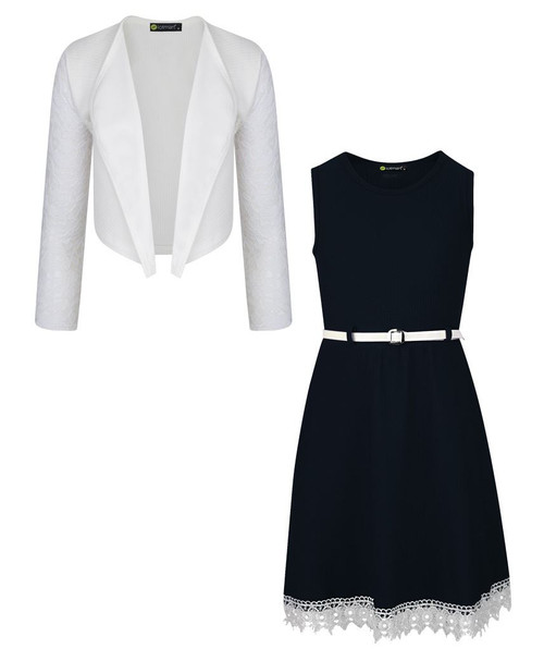 Girls Belted Dress and Bolero Bundle in Black and White
