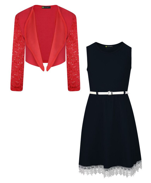 Girls Belted Dress and Bolero Bundle in Black and Red