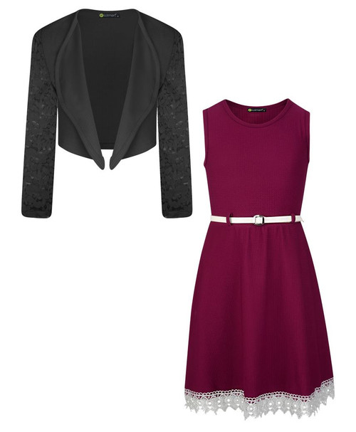 Girls Belted Dress and Bolero Bundle in Burgundy and Black