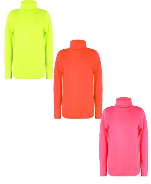 Kids Top Bundle Pack of 3 in Neon Yellow, Neon Orange and Neon Pink