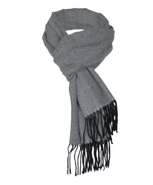 Mens Herringbone Print Scarf in Grey and Claret