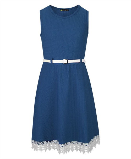 Girls Belted Lace Hem Dress in Black, Blue, Burgundy and Navy
