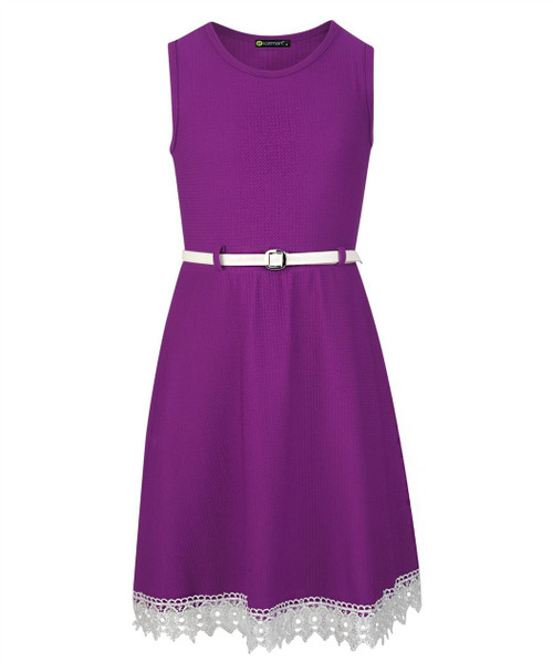 Girls Belted Lace Hem Dress in Peach, Mustard and Violet