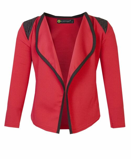 Girls Blazer Jacket in Beige, Bright Red and Peach