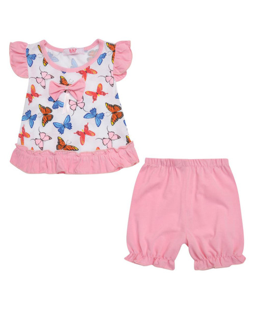 Baby Girls Dress Top and Shorts Set in Red, Cerise, Baby Pink and Mint
