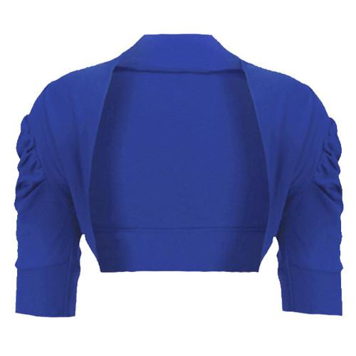 Girls Bolero Shrug in Coral, Blue and White