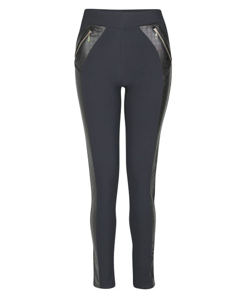 Women Faux Leather Inserts Leggings in Black and Charcoal