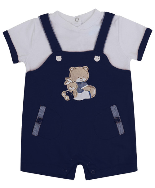 Baby Boys Dungarees Romper Suit in Red, Navy and Baby Blue