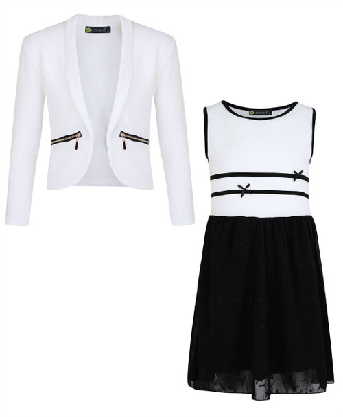 Girls Chiffon Dress Bundle with Zip Jacket in White
