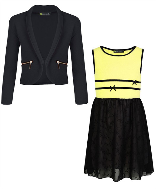 Girls Chiffon Dress Bundle with Zip Jacket in Yellow and Black