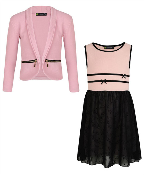 Girls Chiffon Dress Bundle with Zip Jacket in Peach and Pink