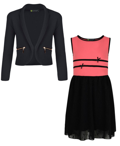 Girls Chiffon Dress Bundle with Zip Jacket in Coral and Black