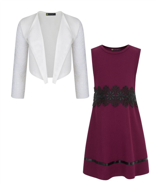 Girl Skater Dress Bundle with Lace Sleeve Bolero in Burgundy and White