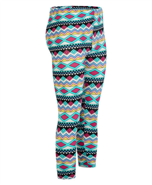 Girls Aztec Print Cotton Leggings in Red-Yellow and Turquoise-Cerise
