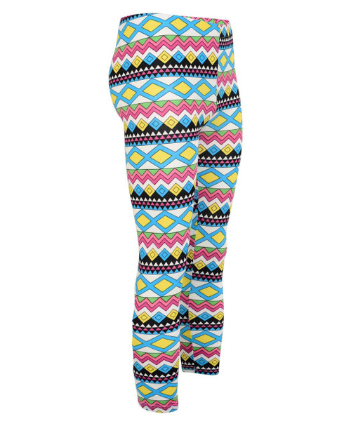 Girls Aztec Cotton Leggings in Turquoise-Yellow and Turquoise-Lilac
