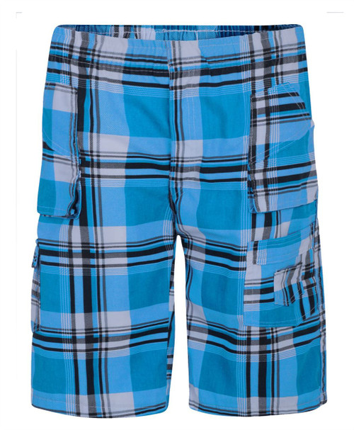 Boys Tartan Print Shorts in Turquoise