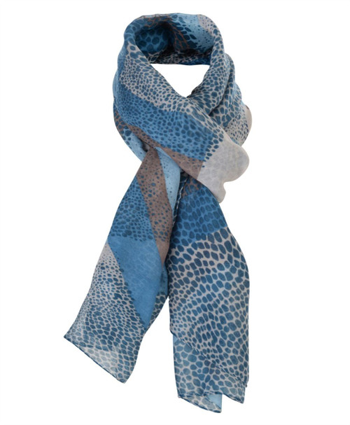 Ladies Animal Print Scarf in Teal and Taupe-Brown