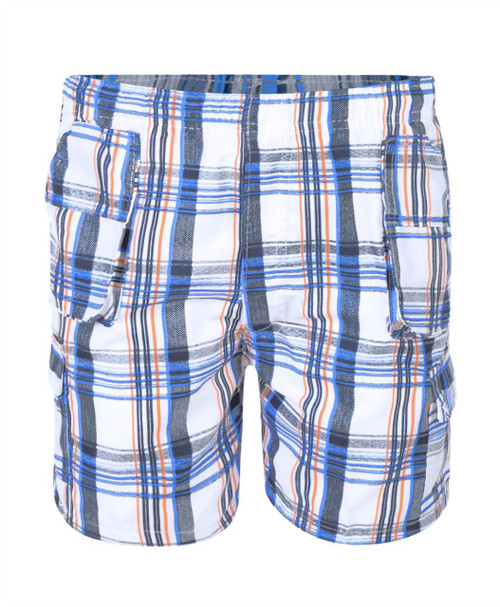Boys Short Checked Shorts in Red-Blue, Black-Red and Navy-Orange
