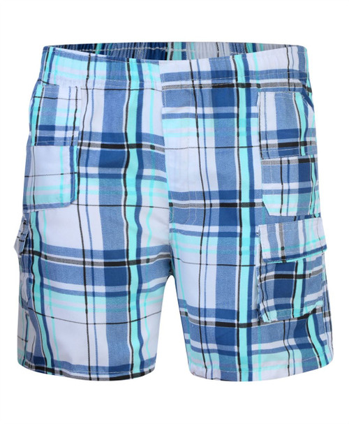 Boys Short Multipocket Shorts in Mint, Red and Blue