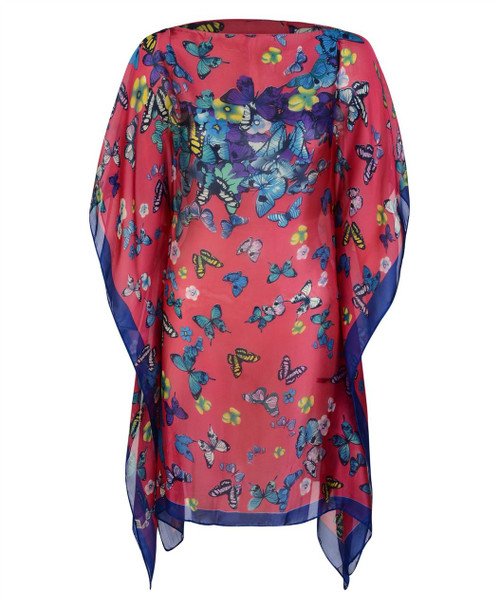 Ladies Butterfly Print Summer Poncho in Cerise and White