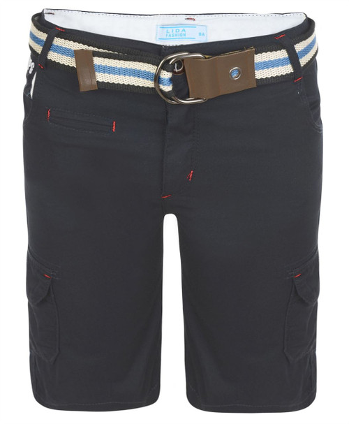 Boys Shorts with Belt in Black, Navy and Blue