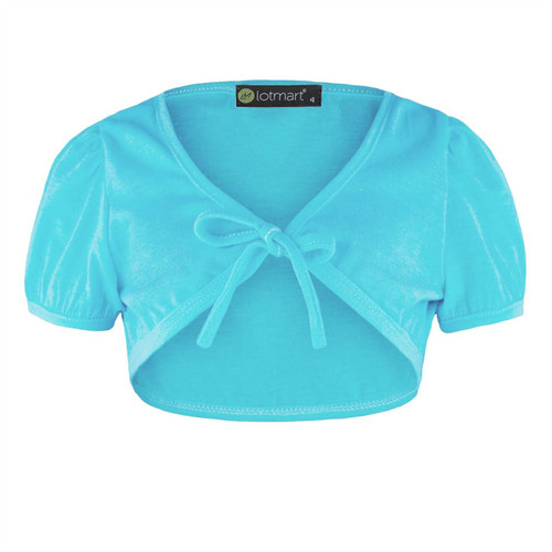 Girls Tie Front Bolero in Light Turquoise, Rose, Neon Pink and Grey