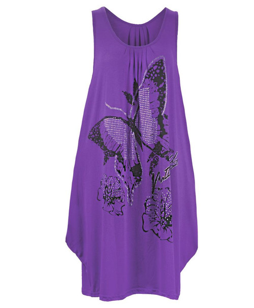Ladies Long Glitter Butterfly Top in Purple, Yellow, Beige and Teal