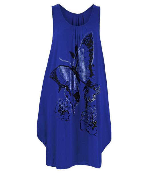 Ladies Long Glitter Butterfly Top in Mocha, Blue, Cerise and Turquoise