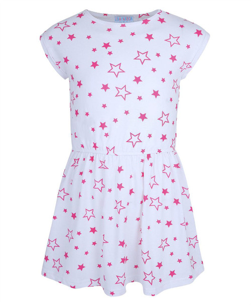 Girls Star Printed Dress in Cerise