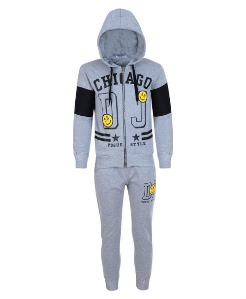 Kids Tracksuit with Emoji in Black and Grey Marl