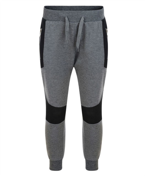 Kids Drop Crotch Tracksuit Bottoms in Charcoal, Black and Grey Marl