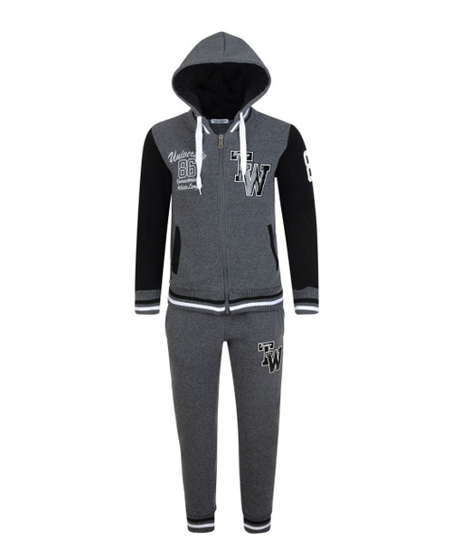 Kids Tracksuit University TW in Charcoal and Grey Marl-Turquoise